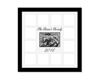 Personalized Family Collage- Holds 1- 5x7 and 12- 4x4 Photos in 20x20 Frame // Family Photo Frame // Custom Family Frame