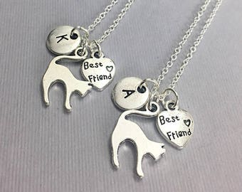 925 Sterling Silver,Silver Best Friends Necklaces - Set of Two Friendship Necklaces,bff, Bff Charm, Best Friend, Friend Gift,Best Friend bff
