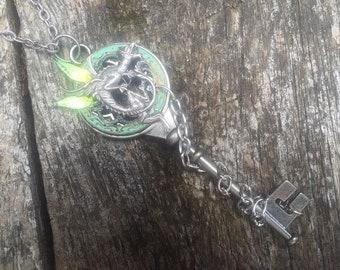 Fantasy Renaissance Medieval Steampunk Dragon Key Pendant Necklace