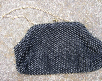 50s Black Beaded Clutch by Debbie A Division of John Wind // Vintage Evening Bag