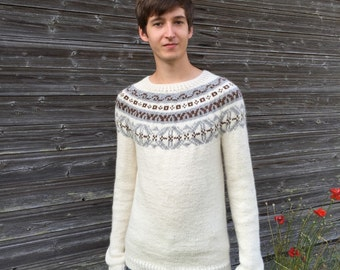 Fair Isle sweater Men's sweater Icelandic sweater Alpaca sweater White sweater Ivory white sweater