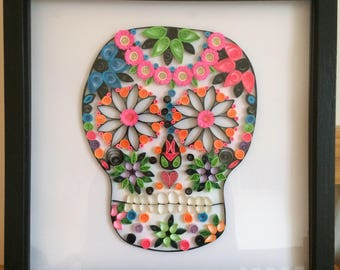 Quilled multicoloured skull in a black 12x12 inch box frame
