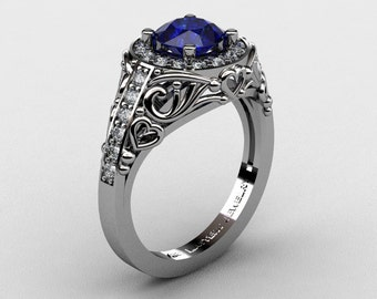 Italian 14K White Gold 1.0 Ct Blue Sapphire Diamond Engagement Ring Wedding Ring R280-14KWGDBS
