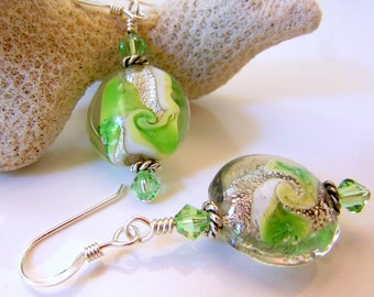 Green Swirl and Silver Foil Lampwork Earrings,  Coin Shaped Green and Silver Glass Swirl Beads Dangle Earrings With Faceted Green Crystals