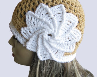 CROCHET PATTERN PDF ,  Crocheted Spiral Flower Summer Hat - Women's beanie - Teen hat, spiral flower hat, instant download, yarntwisted