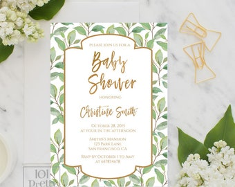 Greenery Baby shower party invitation design printable baby shower invitation design gender neutral  botanical baby shower gold green floral