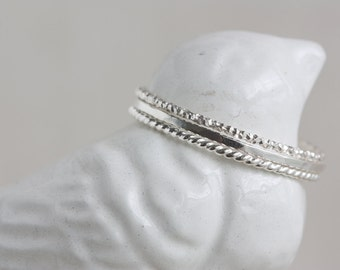 One Sterling Silver Textured Stack Ring (Thin)