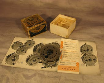 """Vintage English J. W. Young and Sons 3 1/2"""" Trout Fly Fishing Reel including original box with paperwork"""