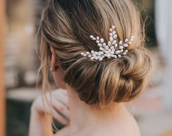 "Bridal Hair Pin, Beaded Hair Pin, Bridal Accessories ~ ""Jill"" Freshwater Pearl Beaded Hair Pin in Silver or Gold"