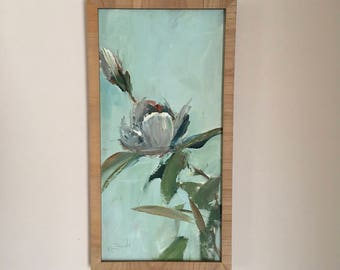 Flower Painting-FRAMED in Natural Wood Frame- Magnolias-   20 x 10 White and Aqua Gray -Painted on Canvas Panel