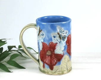 Large Red Poppies Coffee Mug, Handmade Large Ceramic Cup with Butterflies, Red Flower, Porcelain Tea Mug, 600