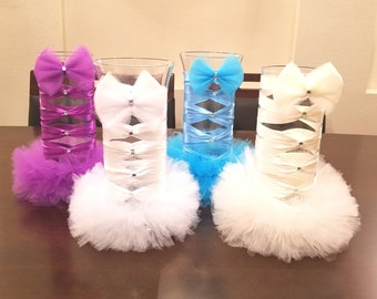 Custom Ribbon & Tulle Decorated Vase *Choose your size and color*