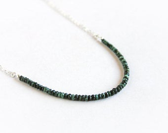 Emerald Beaded Necklace Sterling Silver Natural Gemstone Small Green Black Stone Bead Minimal Gemstone Necklace Layering Necklace #17378