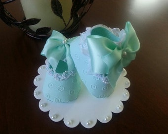 Mint Shoe Cake Topper /Baby Shower Cake Topper / Baby Cake Topper