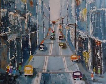 Modern painting - urban ART - Street in San Francisco