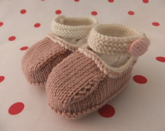 Hand knitted powder pink and cream Mary-Jane baby shoes  - 0-3, 3-6 and 6-9 months