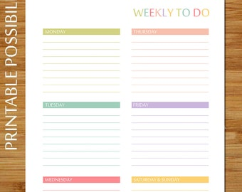 Printable Weekly To Do List - PASTELS - Colorful Weekly To Do List for Binder Notebook 8.5 x 11 inches Daily to do and to remember sections