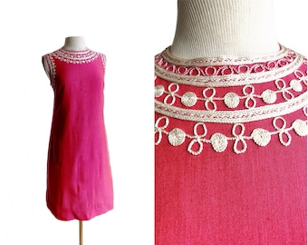 Vintage 60s Hot Pink Embroidered Shift Dress/ cotton blend/ raspberry magenta dress/ rope applique