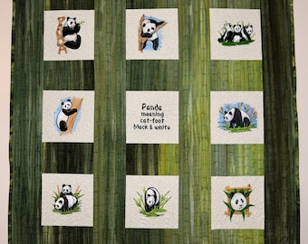 Panda Quilt Embroidered Wall Hanging