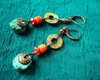 Turquoise earrings, Patina washers, glass beads, Copper filigree spacers, gunmetal accents, boho, ethnic, exotic, Free shipping