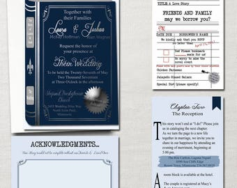 The Literary Wedding ~ Book and Library Themed Wedding Invitation Set~ Custom & Printable *Your Choice of Colors!*