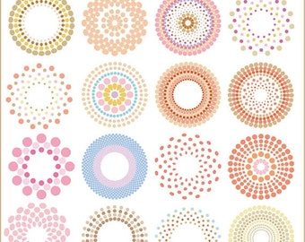 50%OFF Circle clipart, halftone circle clipart, vector circle clipart, multi dot circle clipart, dotted circle clipart, retro circle cl