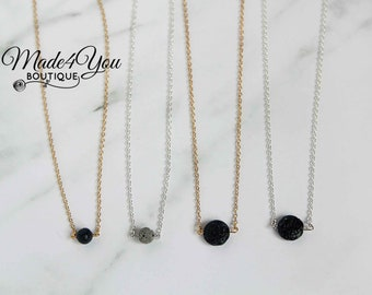 Lava Stone Necklace - Diffuser Necklace - Essential Oil Jewelry - Diffuser Bead Necklace