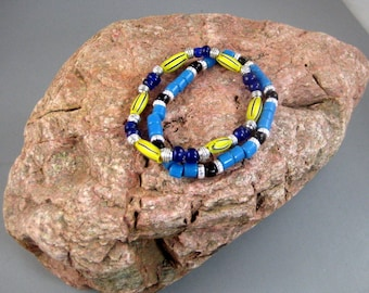 Double Trade Bead Bracelets with Yellow Melon and Blue Cobalt Beads