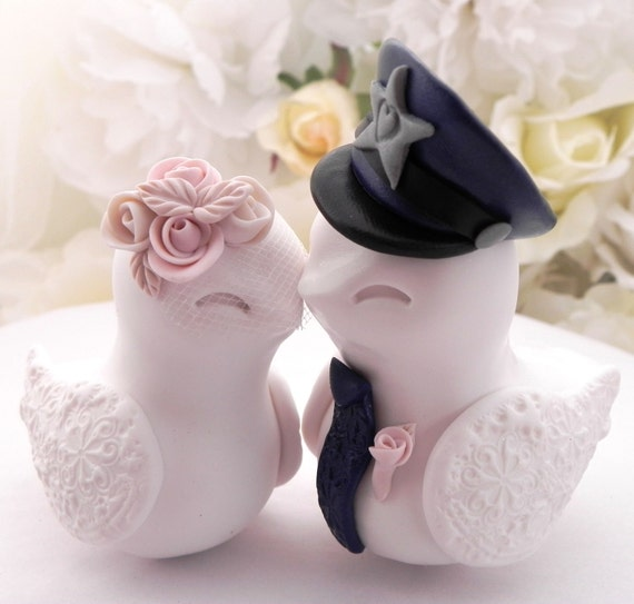 Police Wedding Cake Topper, Love Birds, White, Dusty Pink and Navy Blue - Bride and Groom Keepsake