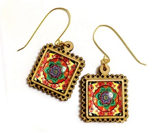Mandala, India, Kaleidoscope, Psychedelic, Spiral, Gypsy, Hippie Festival, Summer, Boho, Geometric Red green, Floral decor earrings