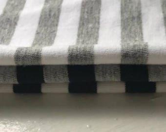 Simple Stripe Organic Cotton Spandex Jersey - Black/White 195 gsm (6006.24.00.00)