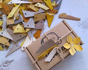 Leather scraps Desert wedding favor tags decor pieces remnants craft supply trim offcuts jewelry making _ Choose your set from 60 to 240 pcs