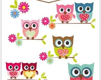 ON SALE Digital clip art, owls, love owls, owls clip art,owl clip art, cute owl, INSTANT Download
