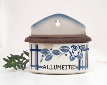 French vintage ceramic matchbox , kitchen canister, blue roses and checked, french tag ,  art deco flowers Box ,Digoin Sarreguemines