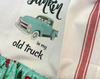 Old Truck Towel Aqua Junkin Prairie Farmhouse cotton Kitchen dish towel Tattered ruffles ECS RDT FVGteam