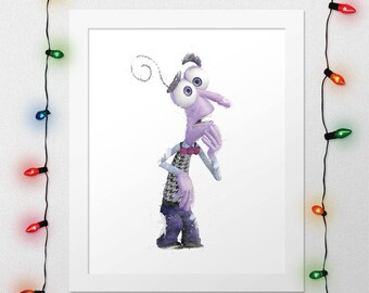 FEAR PRINT, Inside Out, Fear Inside Out, Fear Watercolor, Inside Out Print, Disney Watercolor, Fear Nursery, Disney Nursery, Digital Print