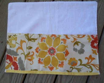 Yellow Floral Hand Towel Guest Bath Decorative Hand Towel Yellow Gold Green Orange Assorted Flowers