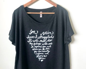 "SALE. Size XL. Jane Austen Quote- Mr. Darcy Proposal ""In vain have I struggled"" Pride and Prejudice Women's Dolman Shirt. Ready to Ship"