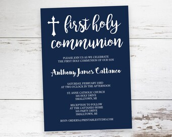Navy and White First Communion Invitation  - Printable First Communion Invitation - Boys Communion Invitation by Printable Studio