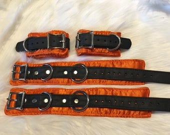 Brocade Wrist and Ankle Restraint Set:  Solid Orange