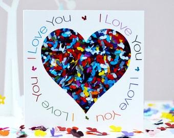I Love You Card, Romantic Birthday Card, Butterfly Anniversary Card, Butterfly Birthday Card, Romantic Valentines Card, Love Heart Card