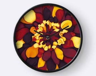 Orange flower fall colors - painting digital art printed on a wall clock - round clock - floral - flower