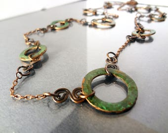 Long Green Disk Necklace