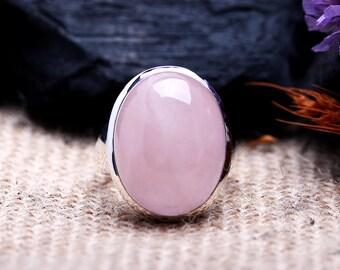 Rose Quartz Ring 7 | Sterling Silver Ring | Lovely Pink Color | Large Natural Oval Rose Quartz Gemstone Jewelry