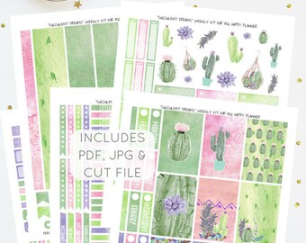 Succulent Dreams - Weekly Kit for Big Happy Planner   Printable Planner Stickers   Instant Download   Includes PDF, JPG, Silhouette Cut File