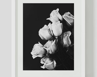 Black and White Roses Print, Minimalist, Black and White Wall Art, Printables, Instant Download, Minimalist Print, Rose, Flower, Roses Print