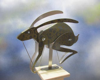 Beautiful March Hare Automaton in grey and gold