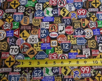 Motorin' Route 66 Retro Street Road Gas Signs on Black BY YARDS QT Cotton Fabric