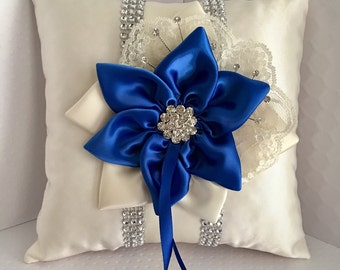 Royal Blue Ring Bearer Pillow, Royal Blue Star Flower, Rhinestone Mesh Trim, Wedding Pillow, Ring Pillow
