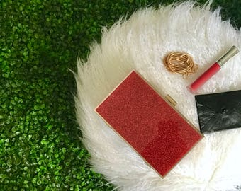 Red Glitter Clutch | Boxy Clutch with Bling Bling Glitter